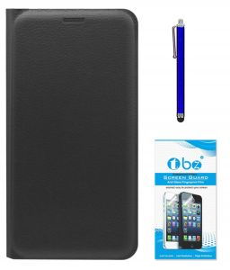 Tbz Pu Leather Flip Cover Case For Samsung Galaxy On8 With Stylus Pen And Tempered Screen Guard - Black