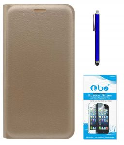Tbz Pu Leather Flip Cover Case For Samsung Galaxy On8 With Stylus Pen And Tempered Screen Guard - Golden