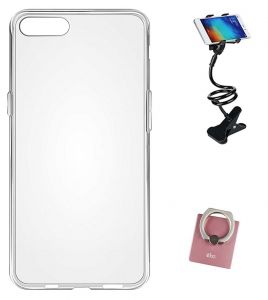 Tbz Transparent Silicon Soft Tpu Slim Back Case Cover For Oneplus 5 With Mobile Ring Holder And Phone Holder Lazy Stand