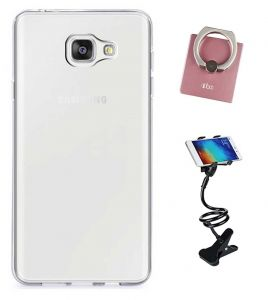 Tbz Transparent Silicon Soft Tpu Slim Back Case Cover For Samsung Z4 With Mobile Ring Holder And Phone Holder Lazy Stand