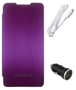Tbz Flip Cover Case For Micromax Canvas Nitro A311 With Car Charger And Data Cable - Purple