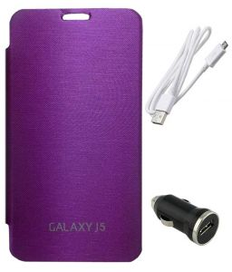 Tbz Flip Cover Case For Samsung Galaxy J5 With Car Charger And Data Cable - Puple