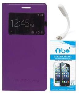 Tbz S-view Flip Cover Case For Samsung Galaxy Grand 2 With Flexible USB LED Light Lamp And Tempered Screen Guard - Purple