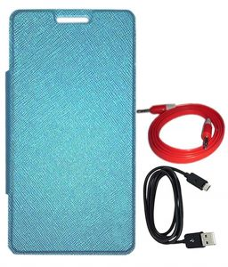 Tbz Flip Cover Case For Lava Pixel V2 With Aux Cable And Data Cable -blue