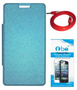 Tbz Flip Cover Case For Lava Pixel V2 With Aux Cable And Tempered Screen Guard -blue
