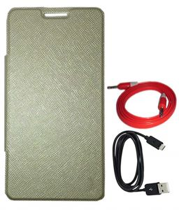 Tbz Flip Cover Case For Lava Pixel V2 With Aux Cable And Data Cable -golden