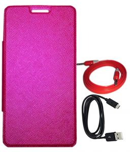 Tbz Flip Cover Case For Lava Pixel V2 With Aux Cable And Data Cable -pink