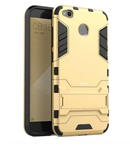 Tbz Tough Heavy Duty Shockproof Armor Defender Dual Protection Layer Hybrid Kickstand Back Case Cover For Xiaomi Redmi 4 - Golden