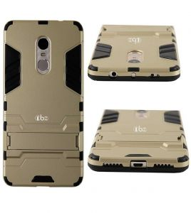 Tbz Tough Heavy Duty Shockproof Armor Defender Dual Protection Layer Hybrid Kickstand Back Case Cover For Xiaomi Redmi Note 4 - Golden