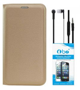 Tbz Pu Leather Flip Cover Case For Samsung Galaxy J7 Prime With Earphone And Tempered Screen Guard - Golden