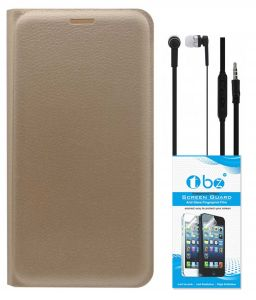 Tbz Pu Leather Flip Cover Case For Samsung Galaxy On8 With Earphone And Tempered Screen Guard - Golden