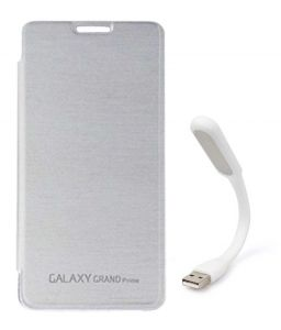 Tbz Flip Cover Case For Samsung Galaxy Grand Prime G530h With Flexible USB LED Light Lamp - White