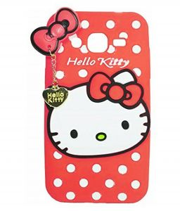 Tbz Cute Hello Kitty Soft Rubber Silicone Back Case Cover For Samsung Galaxy Grand I9082 - Red