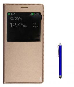 Tbz Window Pu Leather Flip Cover Case For Samsung Galaxy On Max With Stylus -golden