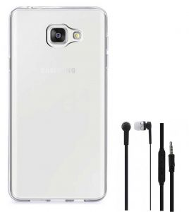 Tbz Transparent Silicon Soft Tpu Slim Back Case Cover For Samsung Galaxy On Max With Earphone