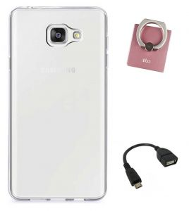 Tbz Transparent Silicon Soft Tpu Slim Back Case Cover For Samsung Galaxy On Max With Mobile Ring Holder And Otg Cable
