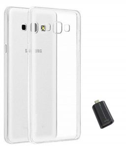Tbz Transparent Silicon Soft Tpu Slim Back Case Cover For Samsung Galaxy On8 With Micro USB Otg Connector Adapter