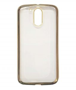 Tbz Transparent Electroplated Edges Tpu Back Case Cover For Motorola Moto G4 Plus - Golden