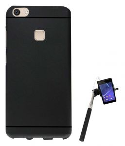 Tbz Soft Tpu Slim Back Case Cover For Vivo V7 Plus With Selfie Stick Monopod With Aux - Black