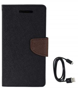 Tbz Diary Wallet Flip Cover Case For Samsung Galaxy On Max With Data Cable - Black-brown