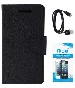 Tbz Diary Wallet Flip Cover Case For Samsung Galaxy On Max With Data Cable And Tempered Screen Guard - Black