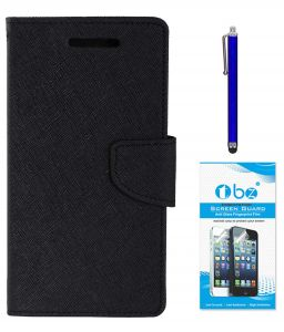 Tbz Diary Wallet Flip Cover Case For Lenovo K8 Note With Stylus Pen And Tempered Screen Guard - Black