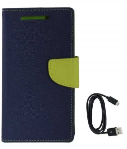Tbz Diary Wallet Flip Cover Case For Samsung Galaxy On Max With Data Cable - Blue-green