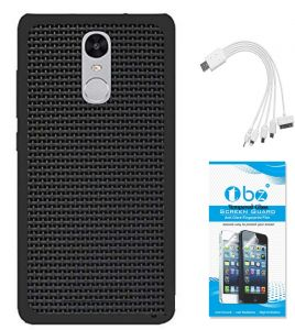 Tbz Rubberised Black Net/jali Back Cover Case For Motorola Moto G5 Plus With 5 In 1 Multi Charging USB Cable And Tempered Screen Guard
