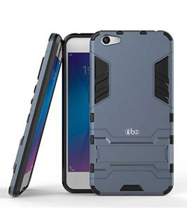 Tbz Defender Dual Protection Layer Hybrid Kickstand Back Case Cover For Vivo V7 Plus -blue
