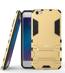 Tbz Tough Heavy Duty Shockproof Armor Defender Dual Protection Layer Hybrid Kickstand Back Case Cover For Oppo F3 Plus - Golden