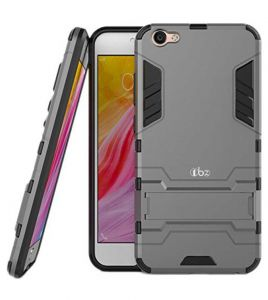 Tbz Tough Heavy Duty Shockproof Armor Defender Dual Protection Layer Hybrid Kickstand Back Case Cover For Vivo V7 Plus -grey