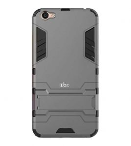 Tbz Tough Heavy Duty Shockproof Armor Defender Dual Protection Layer Hybrid Kickstand Back Case Cover For Oppo F3 Plus - Grey