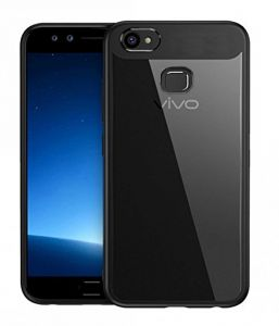 Tbz Transparent Hard Back With Soft Bumper Case Cover For Vivo V7 Plus - Black