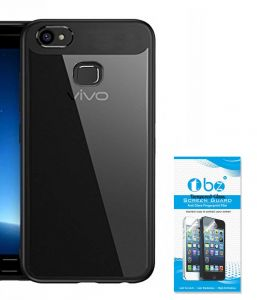 Tbz Transparent Hard Back With Soft Bumper Case Cover For Vivo V7 Plus With Tempered Screen Guard - Black