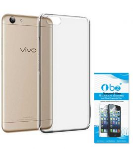 Tbz Transparent Silicon Tpu Slim Back Case Cover For Vivo Y53 With Tempered Screen Guard