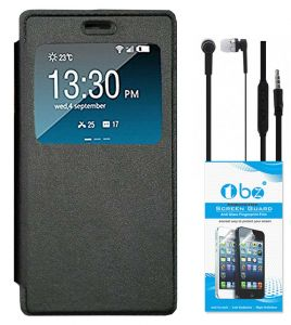 Tbz Window Premium Flip Cover Case For Vivo V5 With Earphone And Tempered Screen Guard - Black