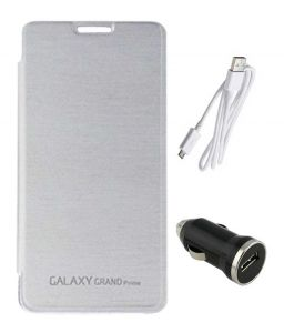 Tbz Flip Cover Case For Samsung Galaxy Grand Prime G530h With Car Charger And Data Cable - White