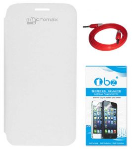 Tbz Flip Cover Case For Micromax Canvas HD A116 With Aux Cable And Screen Guard - White