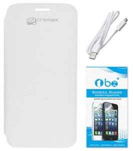 Tbz Flip Cover Case For Micromax Canvas HD A116 With Data Cable And Screen Guard - White