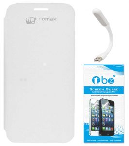 Tbz Flip Cover Case For Micromax Canvas HD A116 With Flexible USB LED Light Lamp And Screen Guard - White