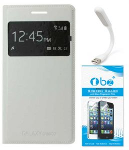 Tbz S-view Flip Cover Case For Samsung Galaxy Grand 2 With Flexible USB LED Light Lamp And Tempered Screen Guard - White