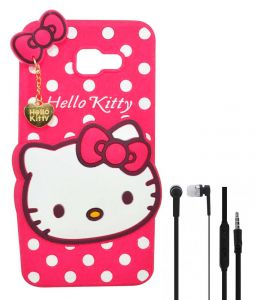Tbz Cute Hello Kitty Soft Rubber Silicone Back Case Cover For Samsung Galaxy On Max With Earphone