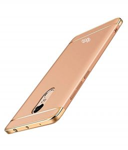 Tbz 3 In 1 Anti-scratch Fingerprint Shockproof Electroplate Metal Texture Armor PC Hard Back Case Cover For Xiaomi Redmi Note 4-golden