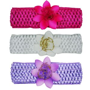 Crochet Cutwork Flower Baby Headband (pink , White , Purple) 3 PCs (code - Set Hb036)