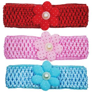 Crochet Cutwork Flower Baby Headband ( Pink , Red , Blue ) 3 PCs Set Hb039
