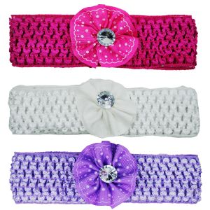 Kids' Accessories (Misc) - Crochet Cutwork Flower Baby Headband (Pink , White , Purple) 3 Pcs Set (Code - HB043)