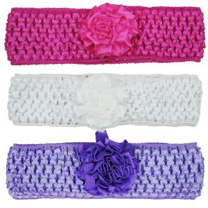 Crochet Cutwork Flower Baby Headband (pink , White , Purple) 3 PCs Set (code - Hb033)