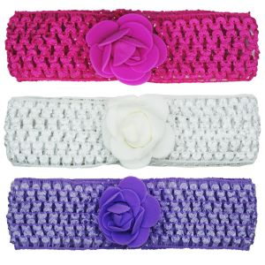 Crochet Cutwork Flower Baby Headband (pink , White , Purple) 3 PCs Set (code - Hb032)