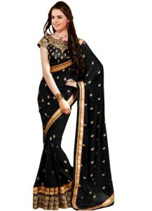 Isha Enterprise Black Georgette Designer Saree Kfpsn-5-a