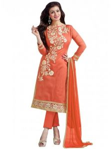 Vinni Tex Orange Cotton Embroidered Salwar Kameez (code - 1009orange)